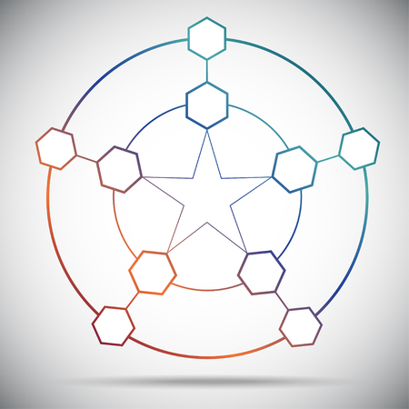 subsidiary company: Ten cells connected in a pentagram. Gradient. Vector Graphics.