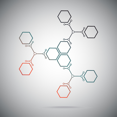 Connect the nine cells. three ternary compounds. gradient red-green. vector graphics Illustration