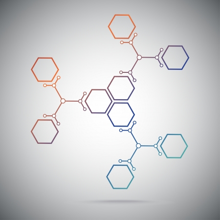 Connect the nine cells. three ternary compounds.vector graphics Illustration