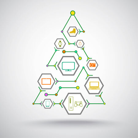 Christmas tree with gifts of appliances, phones and jewelry