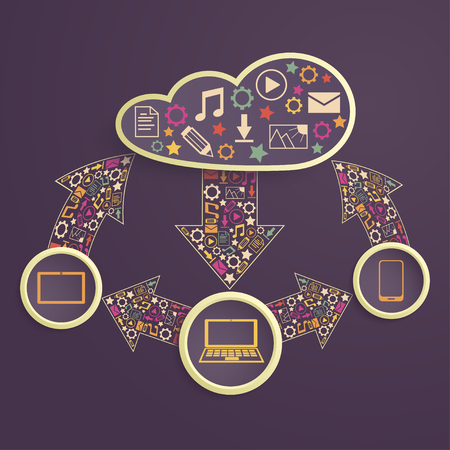 downloading content: exchange of data between devices through cloud computing Illustration