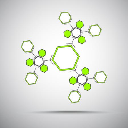 mediateur: Kal�idoscope de compos�s hexagonaux gris-vert. graphiques vectoriels