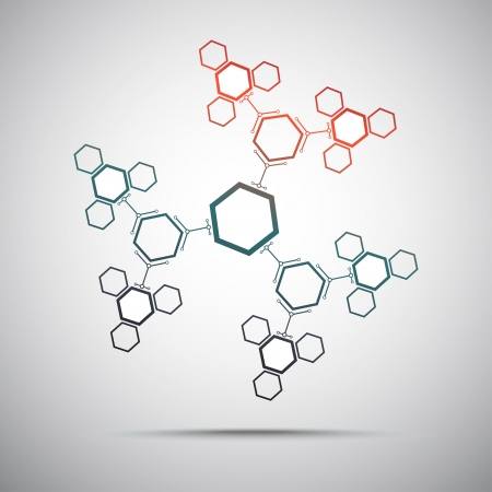 Connect hexagonal cells in the form of snowflake. Gradient. Vector graphics Illustration