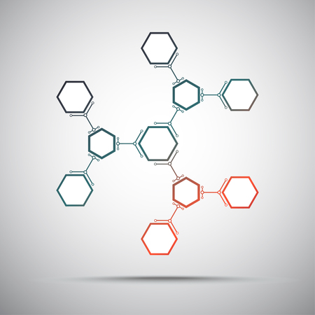 subsidiary: connection of hexagonal cells. gradient red-green. vector graphics Illustration