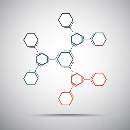 mediateur: connexion de cellules hexagonales. rouge-vert d�grad�. graphiques vectoriels Illustration