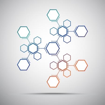 mediator: Kaleidoscope of hexagonal compounds. Gradient. Vector graphics