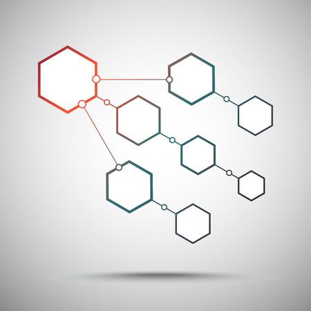 mediateur: Raccordement des cellules hexagonales eightn. Rouge-vert d�grad�. Les graphiques vectoriels