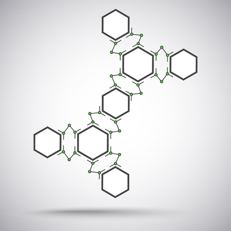 subsidiary company: Compound of eight identical hexagonal cells. gray-green. Vector Graphics