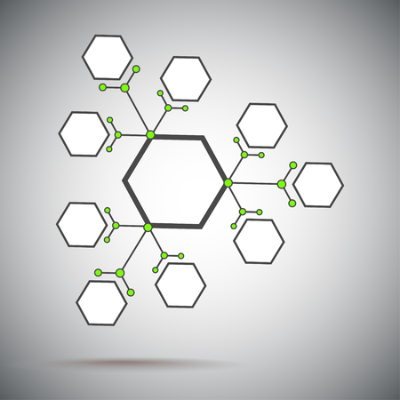 subsidiary: Three compounds from the base unit. Gray-green. Vector graphics.