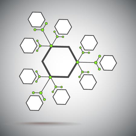 mediateur: Trois compos�s provenant de l'unit� de base. Gris-vert. Les graphiques vectoriels. Illustration