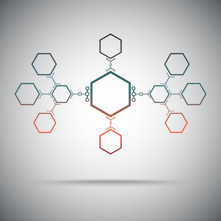concept  connection ties in the form of hexagons. Gradient red-green. Vector Graphics.  Illustration