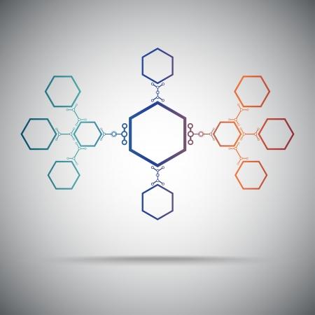 mediator: concept  connection ties in the form of hexagons. Gradient. Vector Graphics.