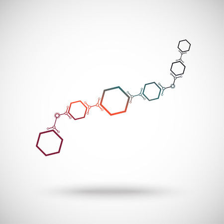 subsidiary company: hexagonal cells connected in waveform. gradient. Vector graphics. Illustration