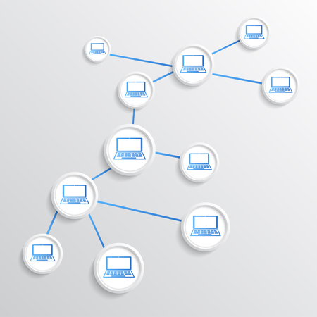 downloading content: Concept of network connections. vector graphics Illustration