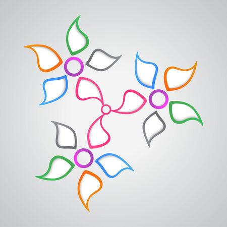 flower petals: color kaleidoscope  from  flower petals. vector graphics