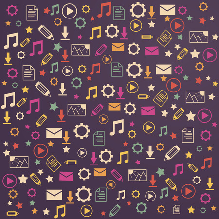 downloading content: lot icons exchange of data on a purple background Illustration