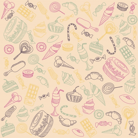 fruitcake: a lot of different sweets on a light background  vector graphics