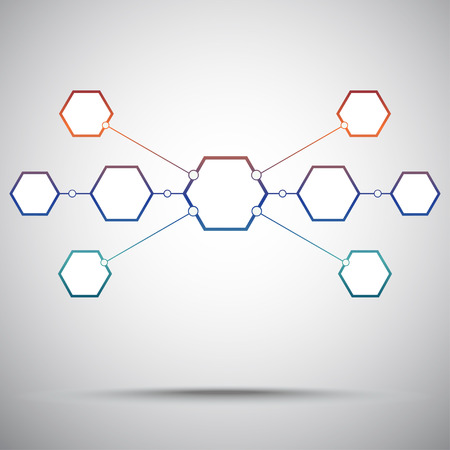 subsidiary: Connection of the nine hexagonal cells. Gradient. Vector graphics