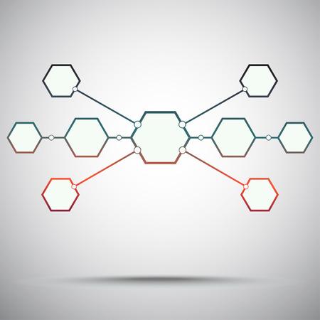 mediator: Connection of the nine hexagonal cells. Gradient red-green. Vector graphics