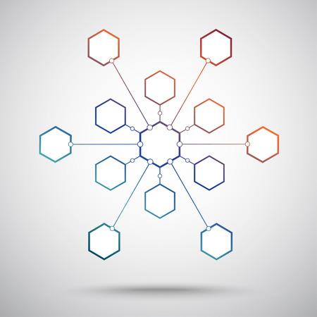 thirteen:  Connection of the thirteen hexagonal cells.   Illustration