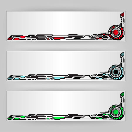 abstract tech banners in different three colors  Illustration