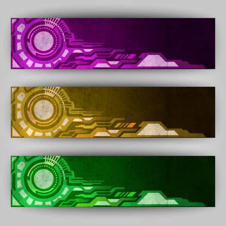 abstract tech banners in grunge background Illustration