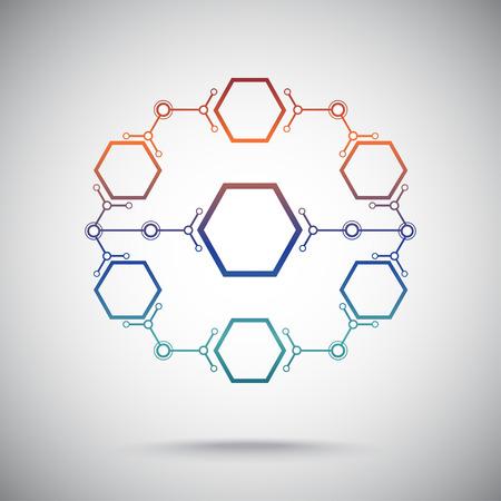 biotecnologia: circuito cerrado de celdas hexagonales Vectores