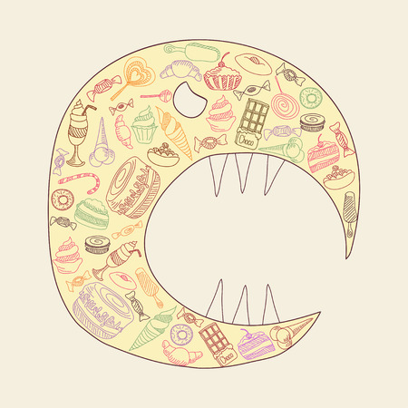 monster of sweets.  Vector