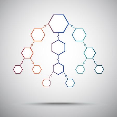 mediator: vertical scheme of hexagons. gradient. vector graphics Illustration