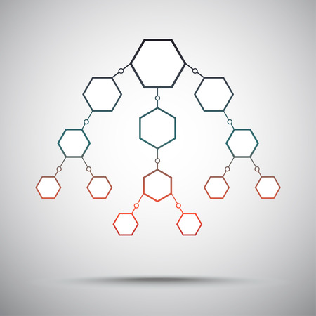 vertical scheme of hexagons. gradient. vector graphics Illustration