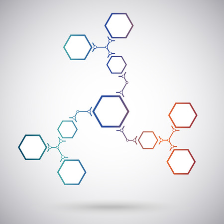 Communication concept of the ten hexagonal cells. gradient. vector graphics