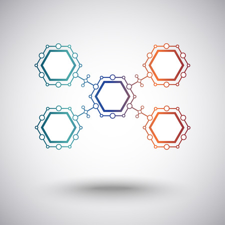 connection from five identical cells. gradient. vector graphics Illustration