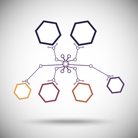 subsidiary: abstract nanobot of cells. colored. vector graphics