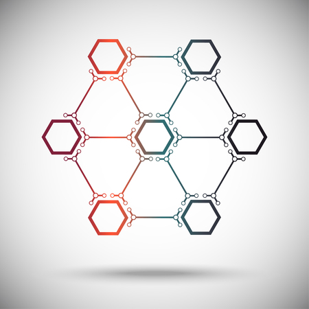 subsidiary: wheel of seven interconnected polygons. gradient. Vector Graphics.