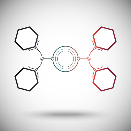 subsidiary: hexagonal cells are connected to the main round cell. gradient.vector graphics Illustration