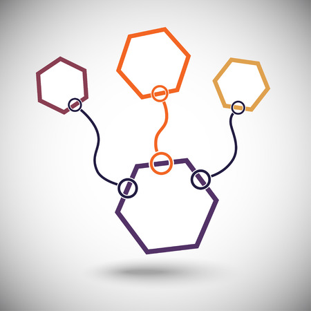 compounds: Connect cells. One of the important compounds highlighted in orange. Illustration