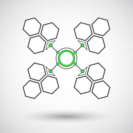 connection of geometric shapes. gray-green. Vector graphics