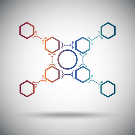 subsidiary: abstract connection hexagonal cells gradient. Vector Graphics.