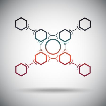 mediator: abstract connection hexagonal cells gradient. Vector Graphics.