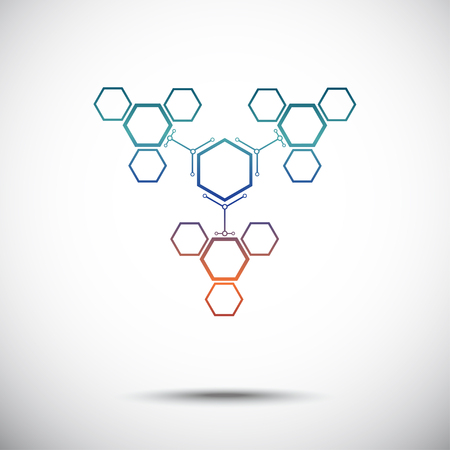 mediator: Three hexagonal cells that are attached to the main cell. Gradient. Vector graphics