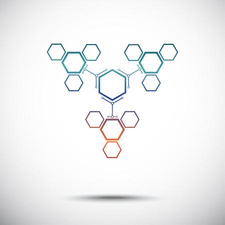 mediateur: Trois cellules hexagonales qui sont attach�s � la cellule principale. Gradient. Les graphiques vectoriels