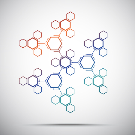 microbiology: Connection from a large number of hexagonal cells. Abstract kaleidoscope. Gradient. Vector graphics