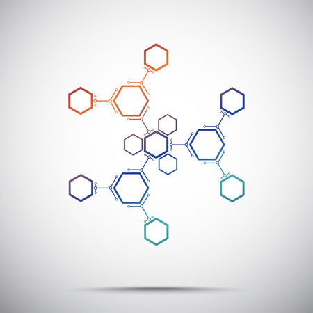 mediator: abstract snowflake from hexagonal compounds. Gradient. Vector graphics