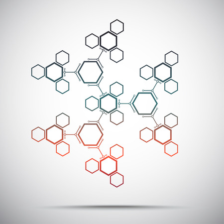 subsidiary: Connection from a large number of hexagonal cells. Abstract kaleidoscope. Gradient. Vector graphics