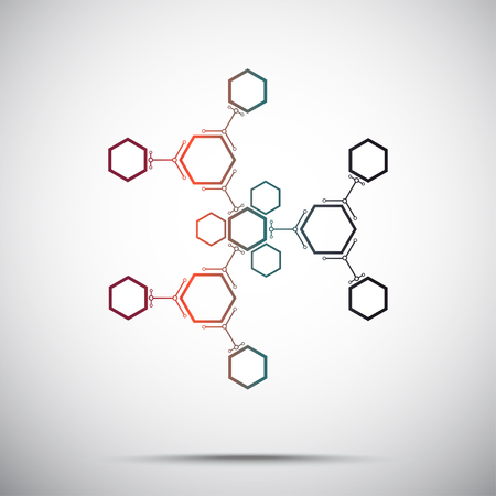 compounds: abstract snowflake from hexagonal compounds. Gradient. Vector graphics