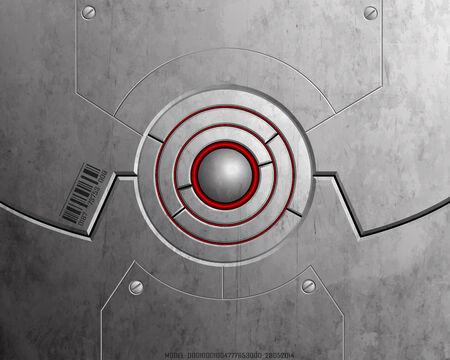 High-tech lock symbolizing safety. Metallic texture.