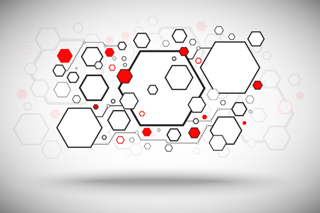 a lot of hexagonal cells communication connection