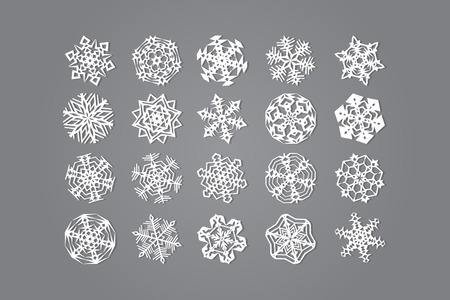 Set of twenty snowflakes on a gray background. Vector graphics. Illustration