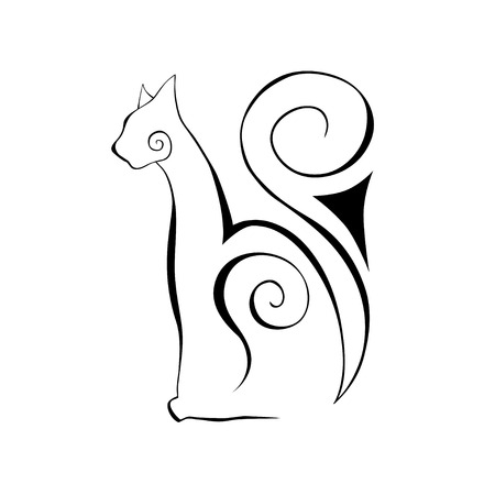 Drawn silhouette of a cat. Vector Graphics