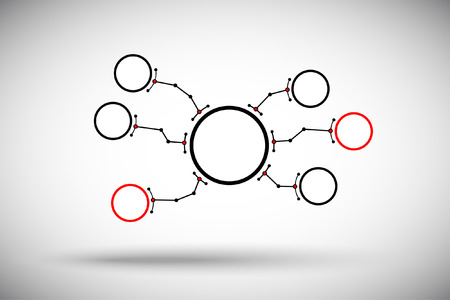 subsidiary company: Round cell branches are connected by a large head unit. Illustration